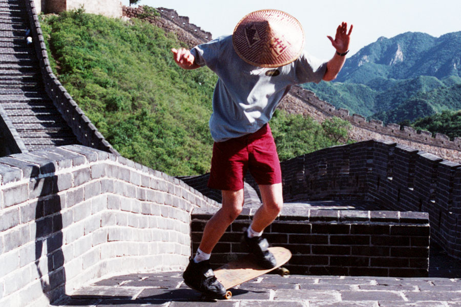 Skateboarding on the Great Wall of China - Steven Andrew Martin