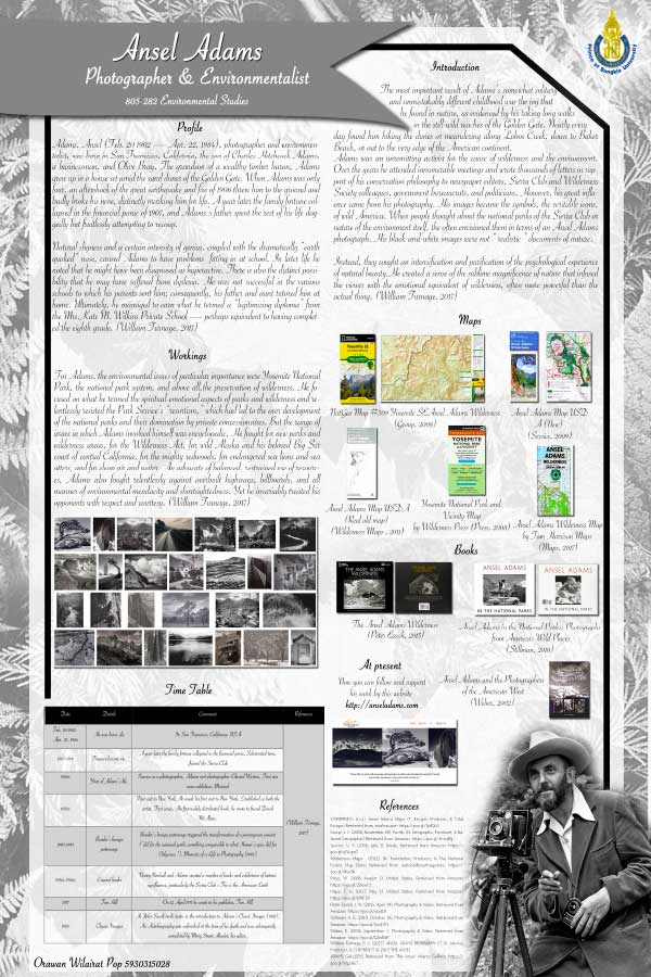 Ansel Adams - Student Project Poster - Environmental Studies - Dr Steven Andrew Martin