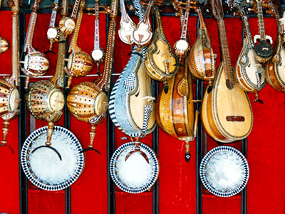 Musical instruments for sale in Kashgar - Silk Road China - Steven Andrew Martin
