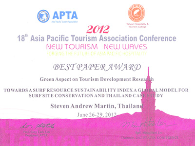 Steven Andrew Martin - 2012 Best Paper Award - Asia Pacific Tourism Association (APTA)