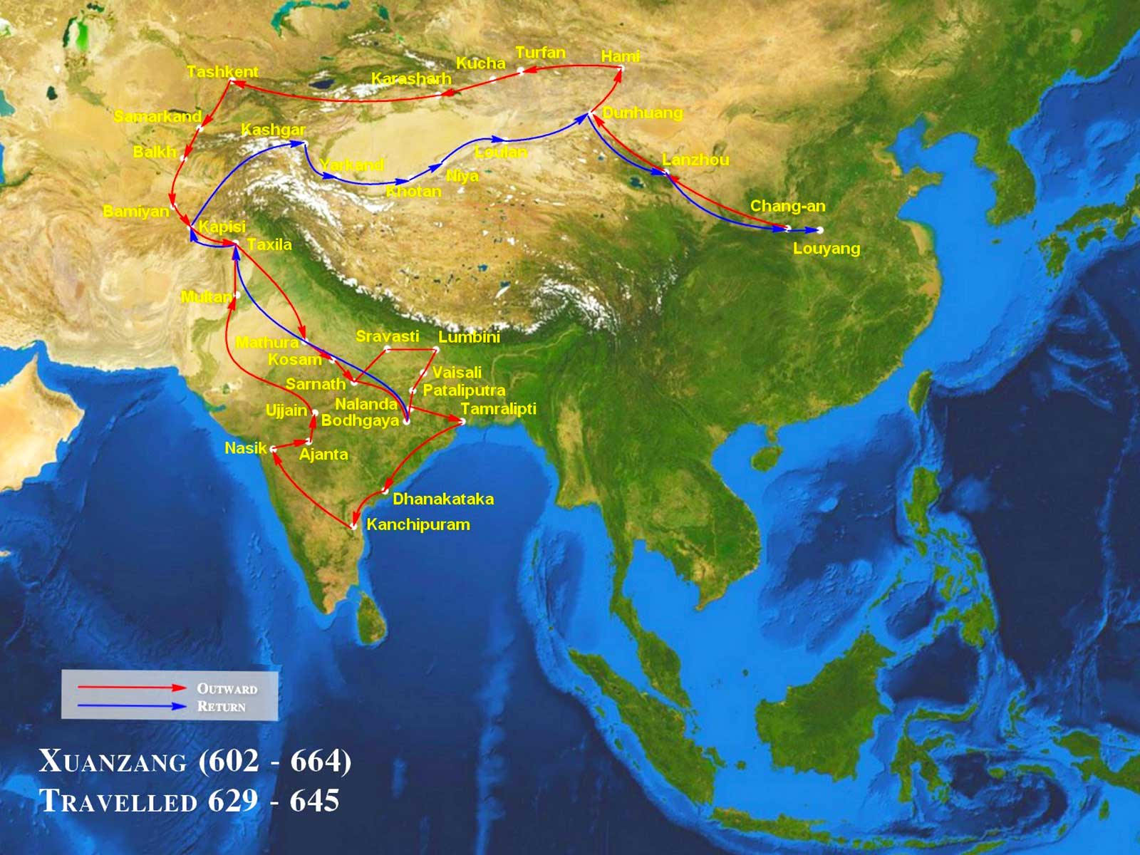 Xuanzang Travel Map - Silk Road Photo Journal - Steven Andrew Martin - China Culture University Study Tour