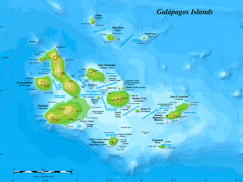 Map of the Galapagos Islands, Ecuador - USFQ Photo Journal Project