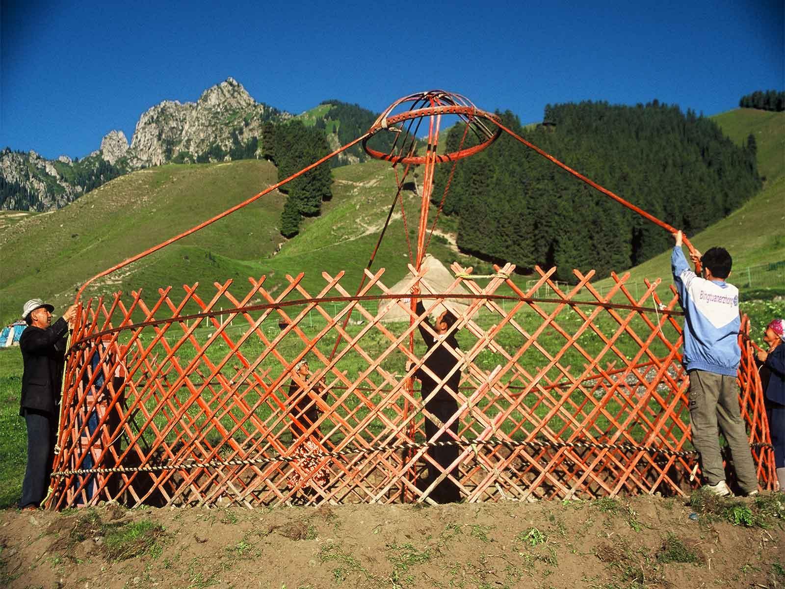 Kazakh family Constructing a Yurt in the Tianshan - Heavenly Mountains - Xinjiang China - Silk Road Research - Dr Steven Andrew Martin - Photo Journal