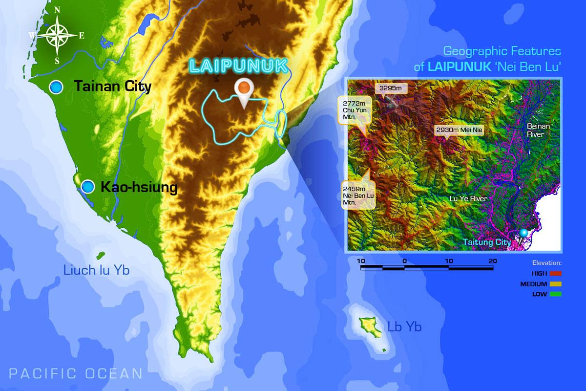Laipunuk Map © Dr Steven A Martin | Ethnographic Research | Taiwan Studies - Bunun Tribe | Nei Ben Lu 內本鹿