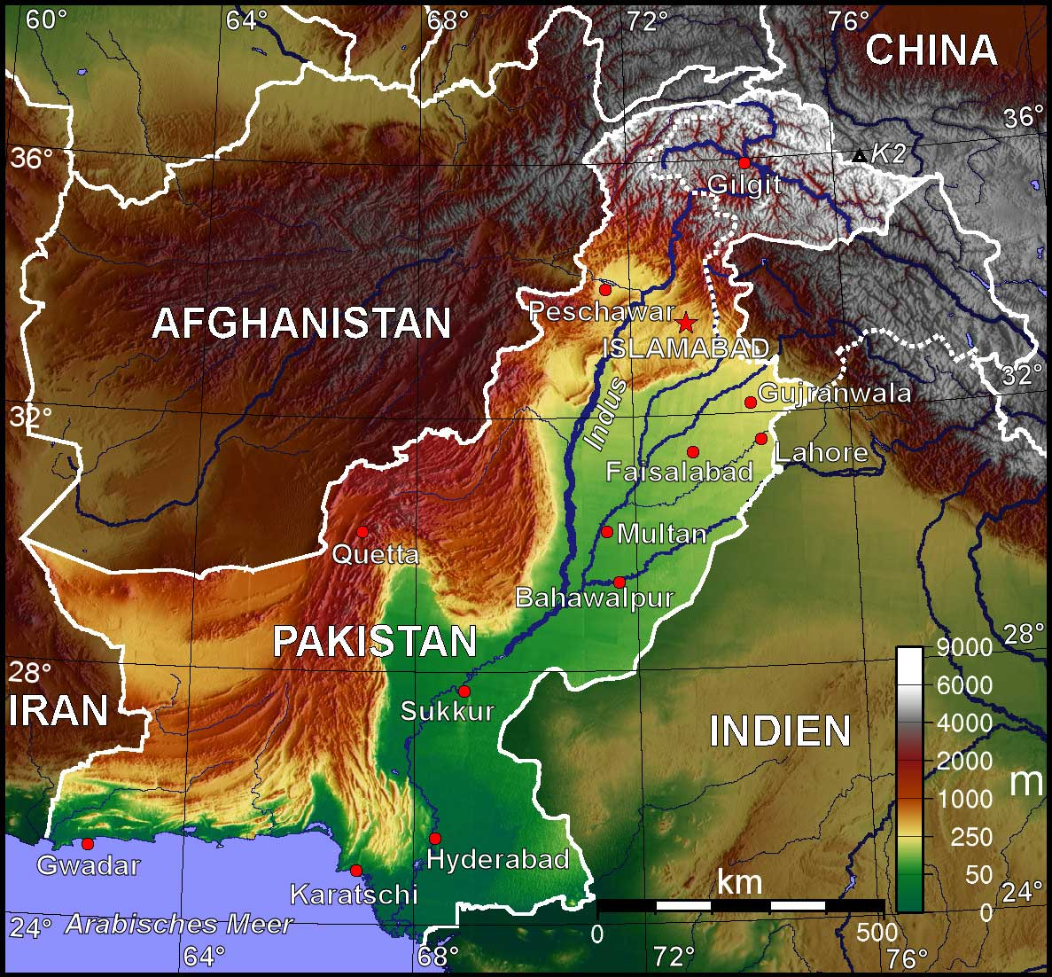 Pakistan Map - Silk Road - Study Abroad Journal - Steven Martin - Indus River Valley Civilization