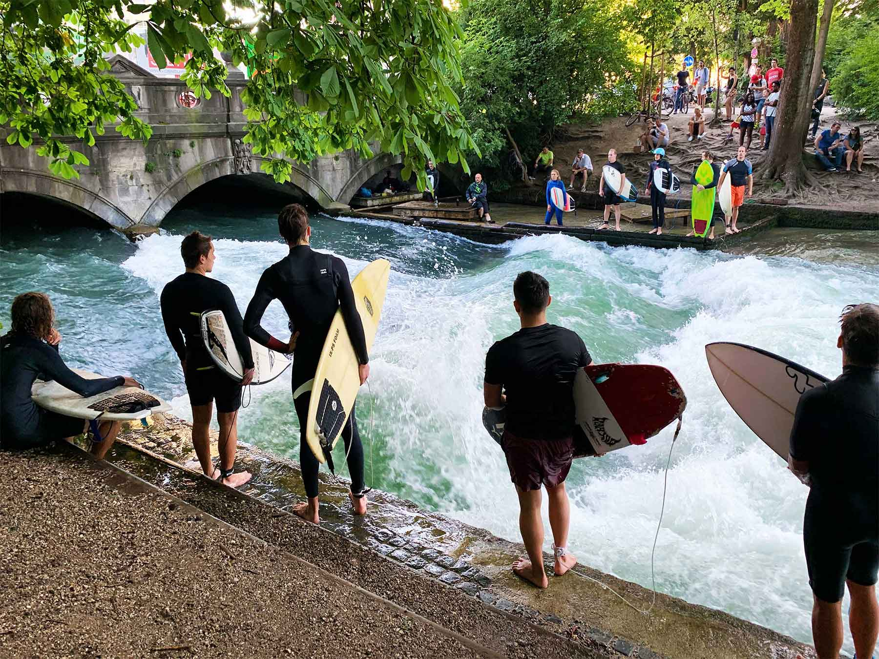 German surfers wait for a wave | Eisbach River Wave | Surf Tourism Research | Dr Steven Andrew Martin | Munich Germany