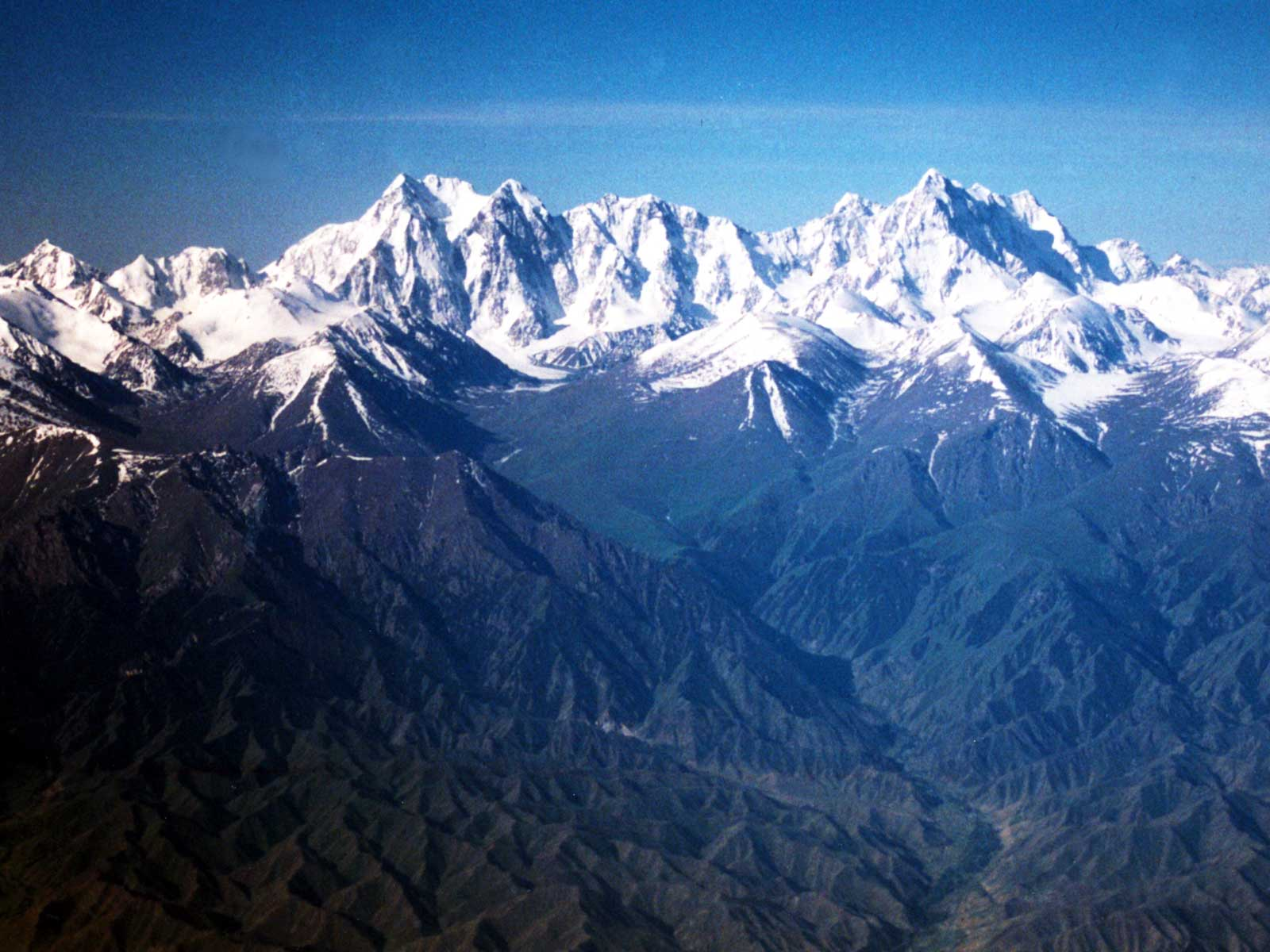 Tianshan from the air - Heavenly Mountains - 1995 University of Hawaii - Silk Road Study Tour - Steven Andrew Martin