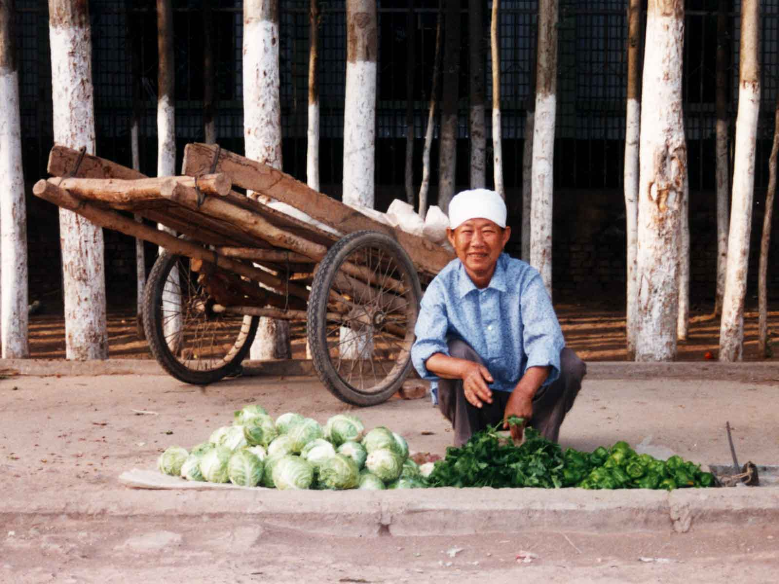 Turpan farmer - Xinjiang - Chinese Silk Road Photo Journal - 1995 University of Hawaii Culture Study Tour - Steven Andrew Martin