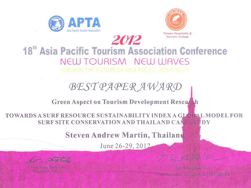 Dr Steven Andrew Martin - Surf Tourism Research - Best Paper Award - Asia Pacific Tourism Association (APTA)