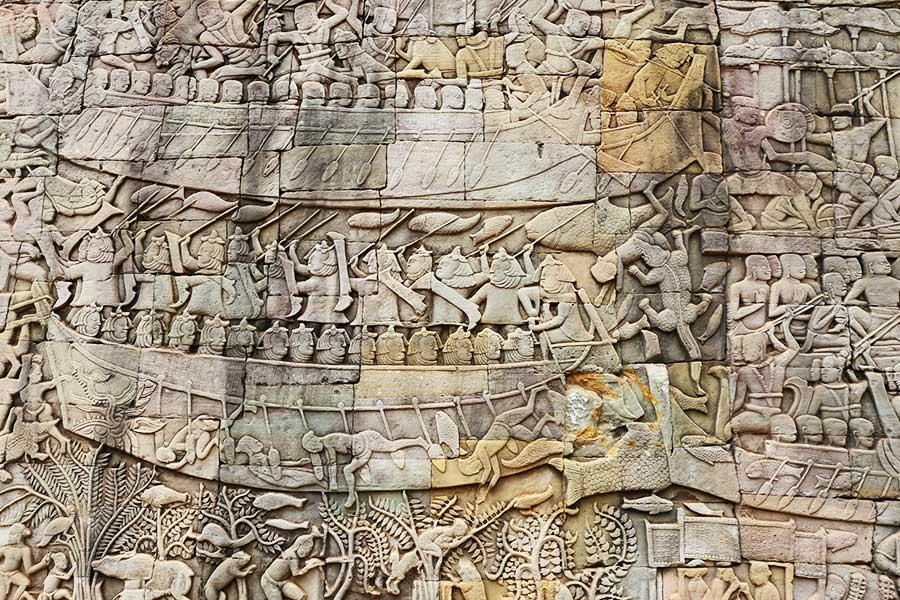Khmer Battle - Champa Kingdom - Bas Relief - Angkor Thom - Steven Andrew Martin