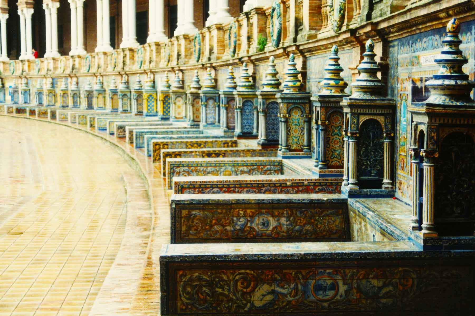 Ceramic tiled alcoves | Plaza de Espana | Seville Spain - Steven Andrew Martin - Study Abroad Photo Journal