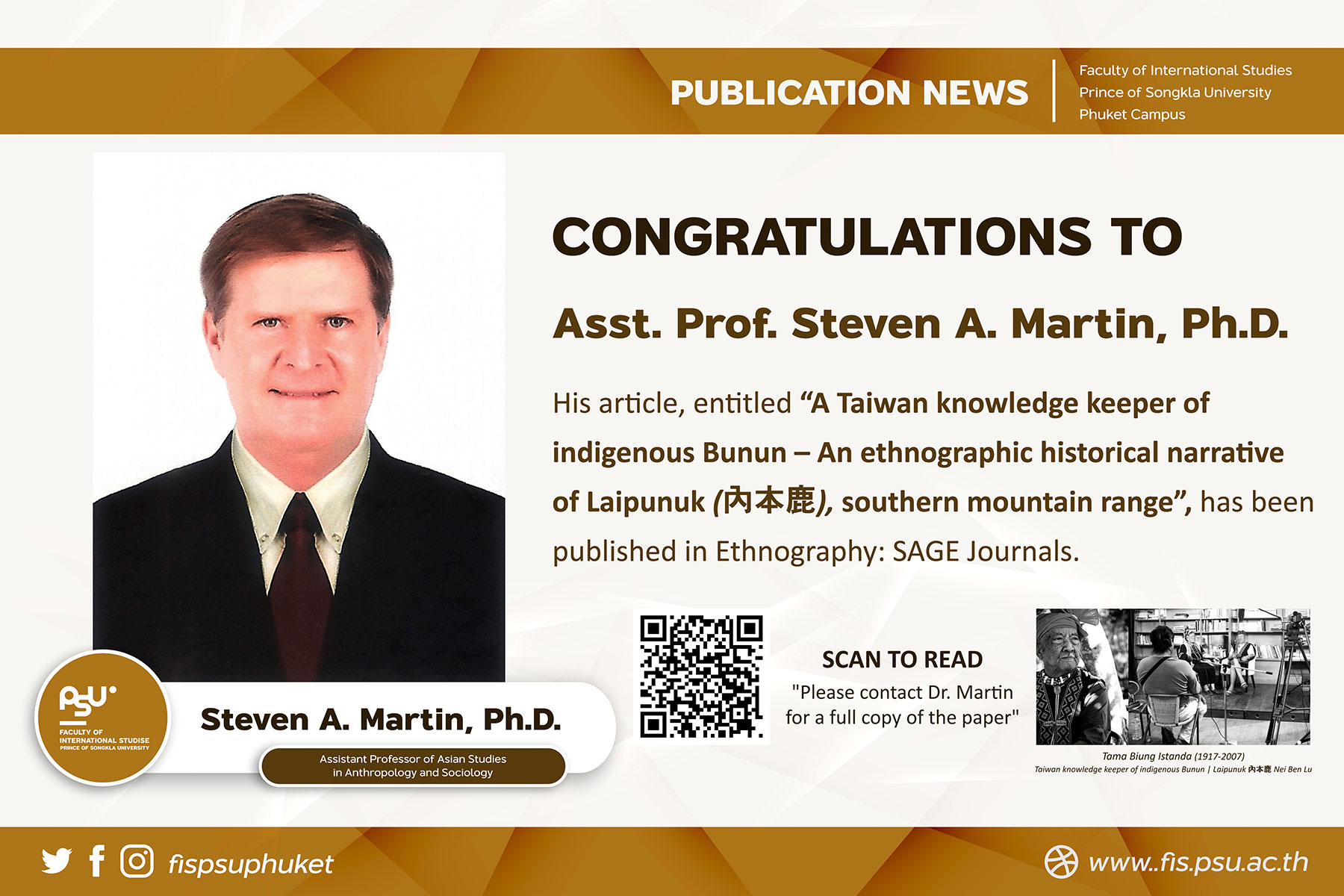 University News | Martin, S. A. (2020). A Taiwan knowledge keeper of indigenous Bunun – An ethnographic historical narrative of Laipunuk (內本鹿), southern mountain range. Ethnography