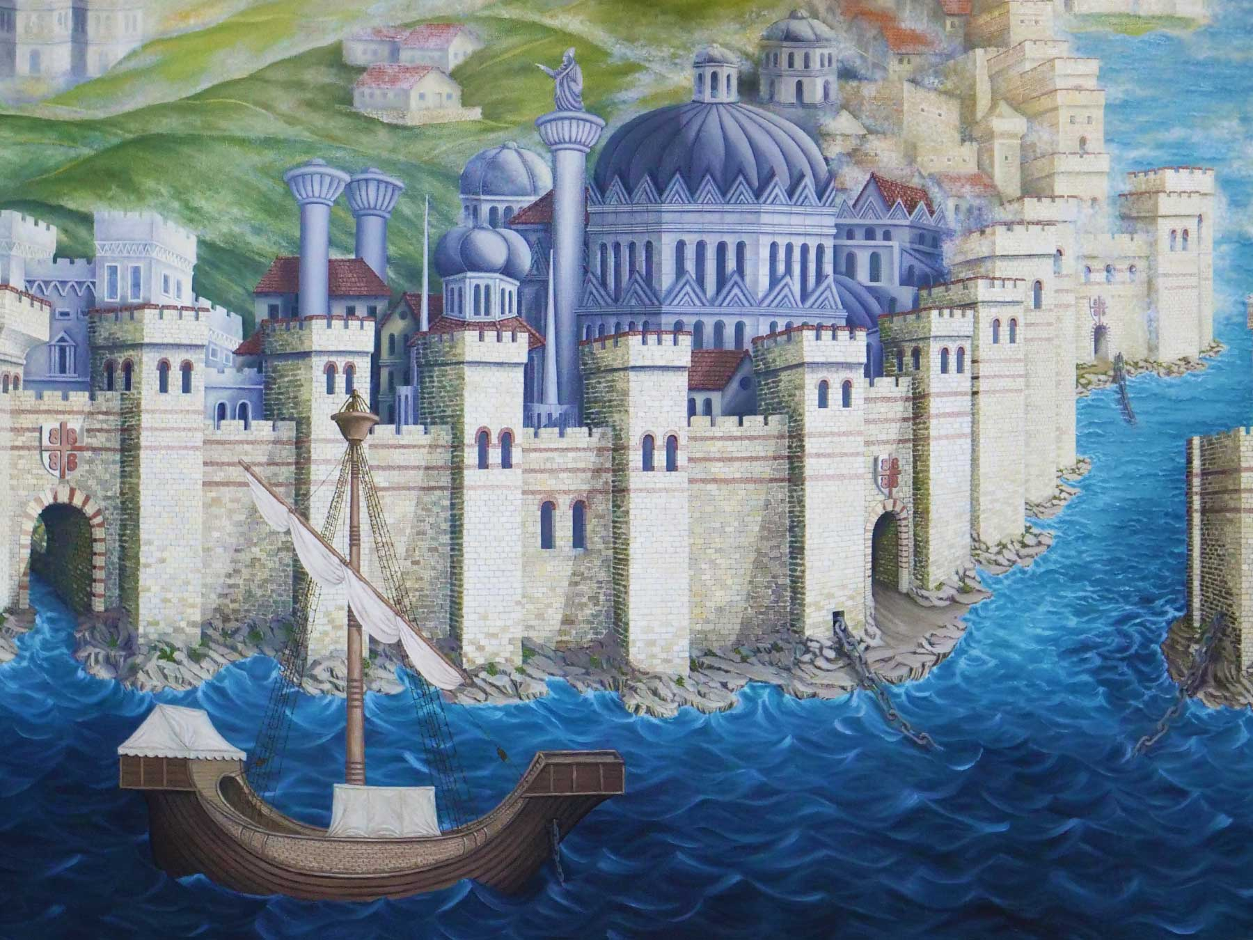 Painting by Sirinoz 1994 | Based on Schedel 1493 Engraving of Byzantine Istanbul Turkey | Chain across the Golden Horn | Professor Steven A Martin