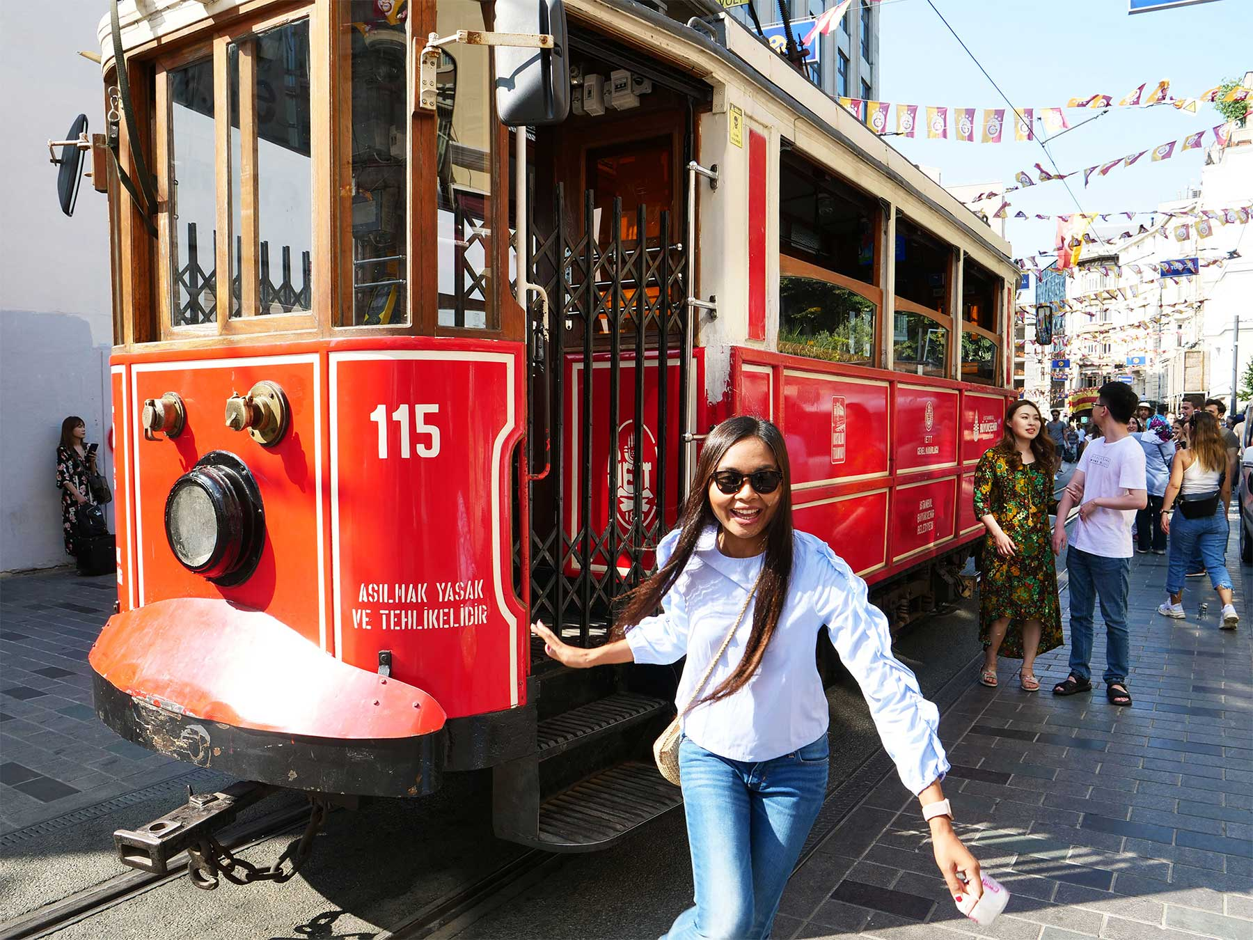 Jantanee rides the Taksim Street Car | Istiklal Caddesi | Independence Avenue | Beyoglu Istanbul Turkey | Steven Andrew Martin