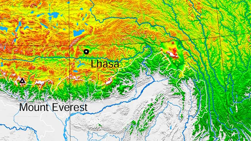 Topographic map of Tibet featuring Lhasa and Mount Everest