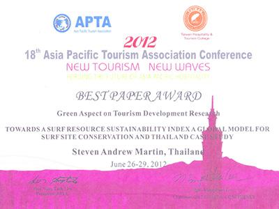 Steven Andrew Martin - 2012 Best Paper Award - Asia Pacific Tourism Association (APTA)