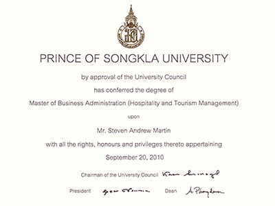 Education - Steven Andrew Martin - Master of Business Administration (MBA) in Hospitality and Tourism Management