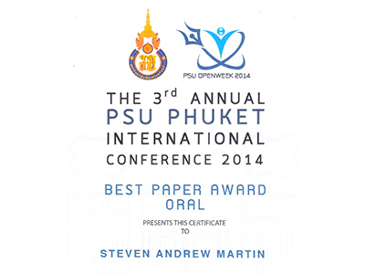 Dr Steven A Martin - Prince of Songkla University - Phuket - Best Paper Award 2014