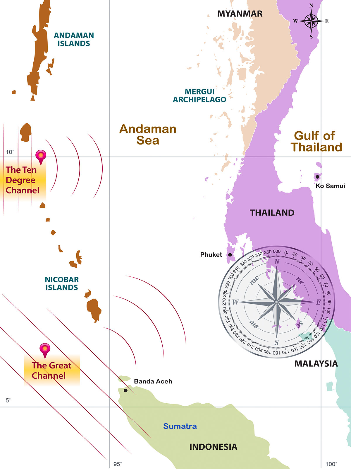 Andaman Coast groundswell swell windows and wave refraction | Surfing Thailand | Surf Tourism Research | Dr. Steven A. Martin