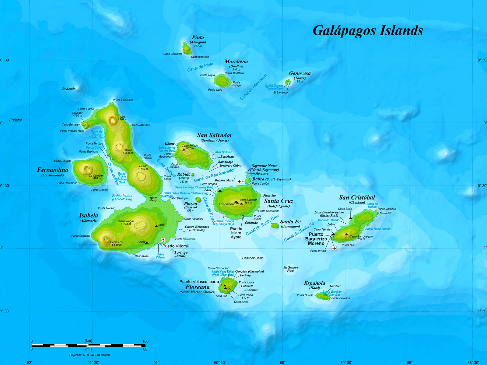 Map of the Galapagos Islands, Ecuador - USFQ Photo Journal Project - Study Abroad - Dr Steven A Martin
