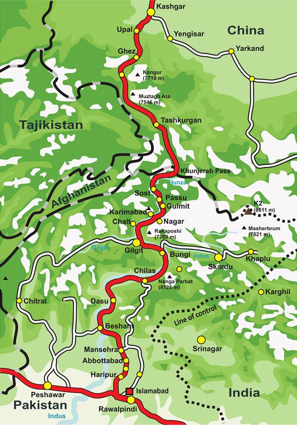 Karakoram Highway Map | Kashgar, Xinjiang, China to Islamabad, Pakistan | Steven Martin Journey to the West
