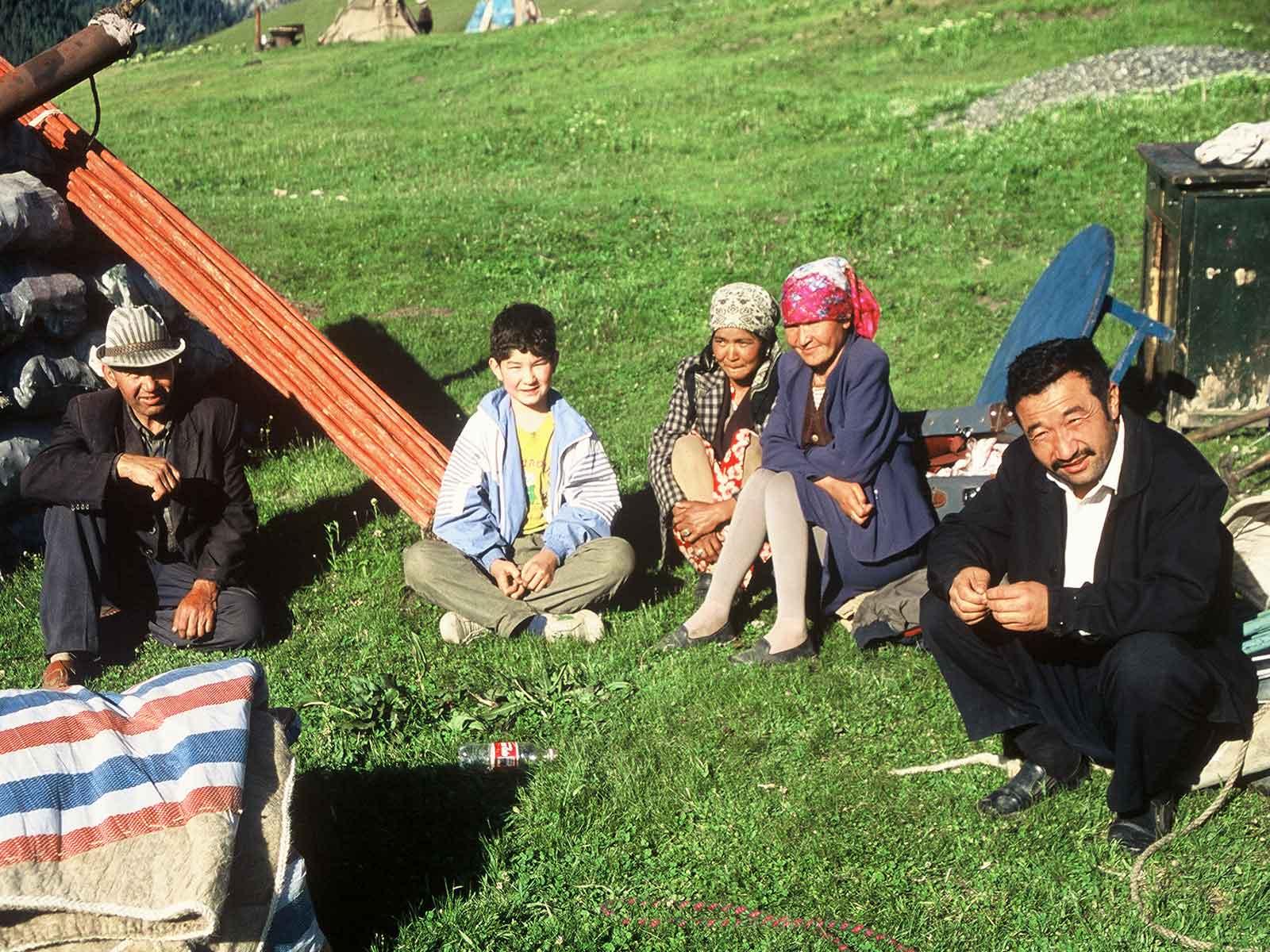Kazakh family - Yurt - lower pastures Tianshan - Heavenly Mountains - Xinjiang China - Silk Road Research - Dr Steven Andrew Martin - Photo Journal
