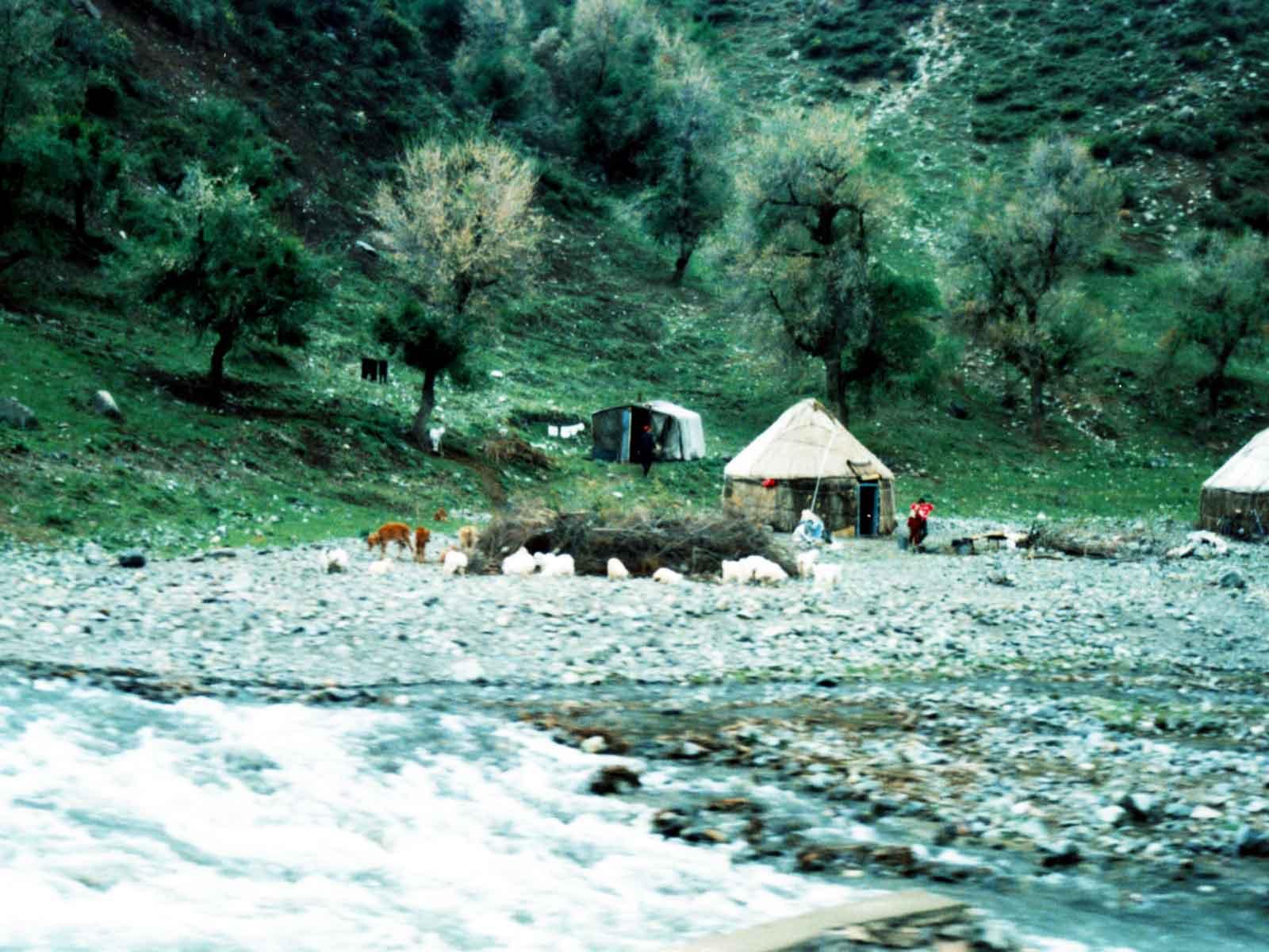 Kazakh yurts - Tianshan - Heavenly Mountains - Urumqi China - 1995 University of Hawaii - Silk Road Study Tour - Steven Andrew Martin