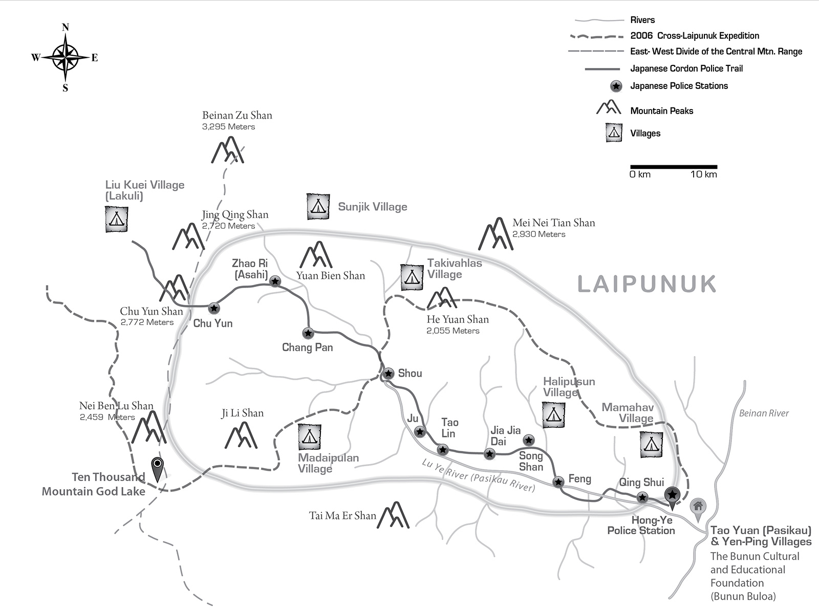 Map © Steven Martin | Laipunuk 內本鹿 Nei Ben Lu Map | Japanese trail and police stations | Taiwan Studies