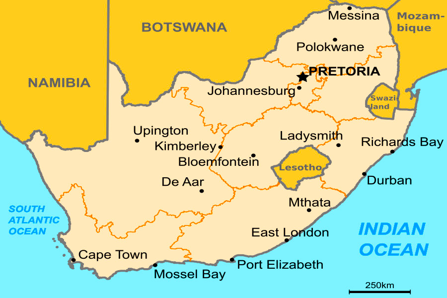 South Africa Map - Study Abroad Photo Journal - Steven Andrew Martin - Education Online