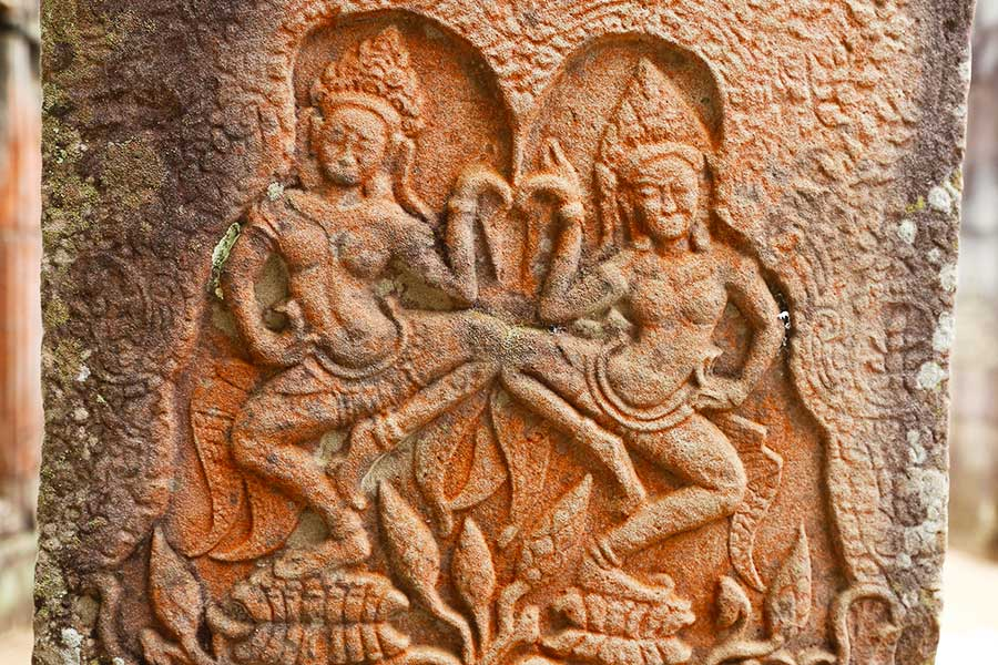 Pink Sandstone - Apsara Dancers - Bayon - DR Steven Martin - Cambodia Historical Geography