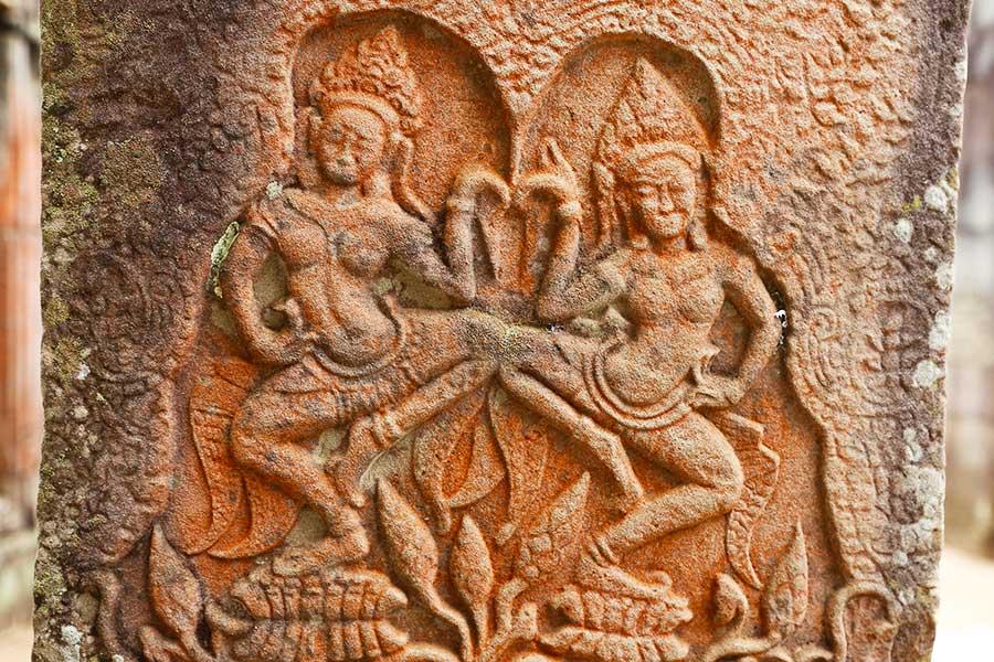 Pink Sandstone - Apsara Dancers - Bayon - DR Steven Martin - Cambodia Historical Geography