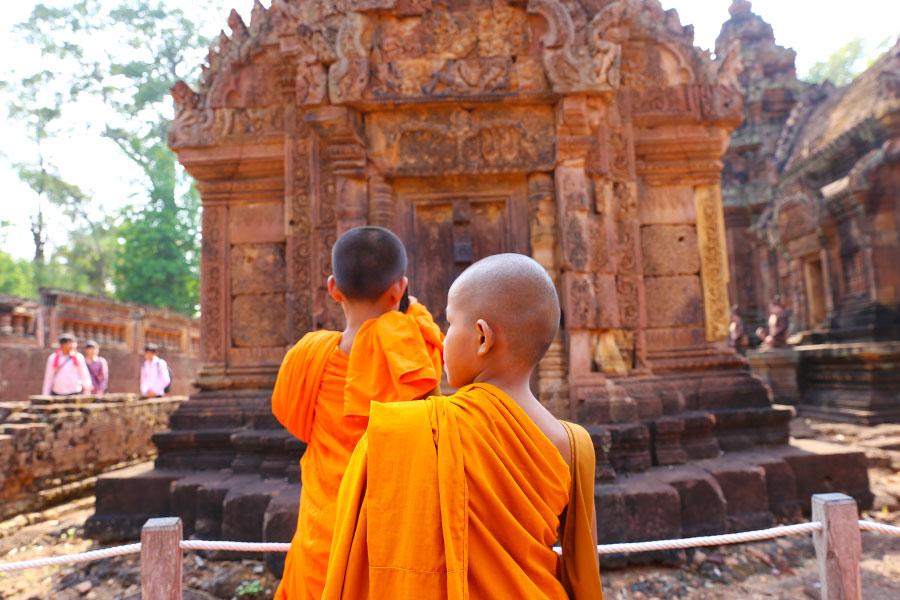 Monks at Bantaey Srei Historical Site, Cambodia - Steven Andrew Martin - Field Studies