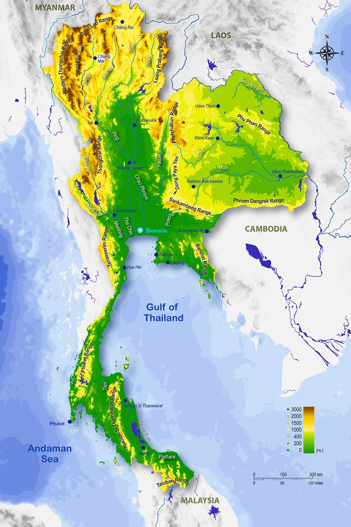 Thailand Physical Geography Map © - Dr Steven Andrew Martin - Thai Studies Research