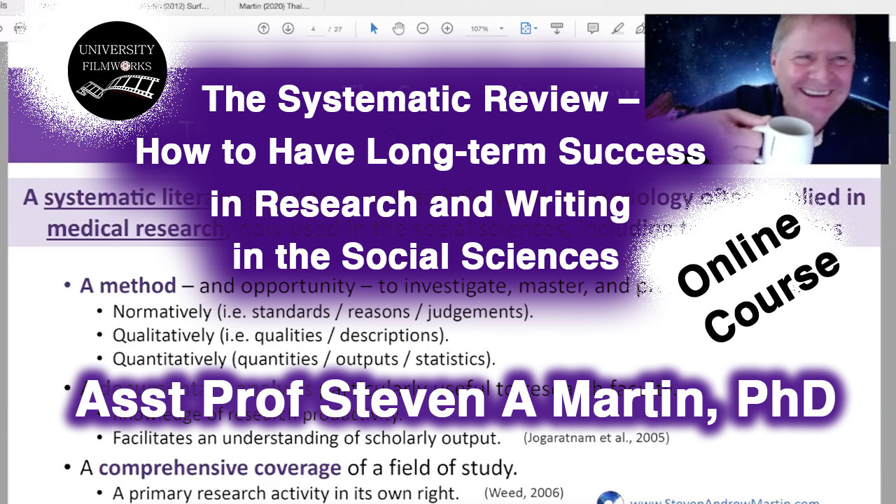 Systematic Review Webinar | Asst Professor Steven A Martin, PhD | Literature Review | Online Teaching & Learning