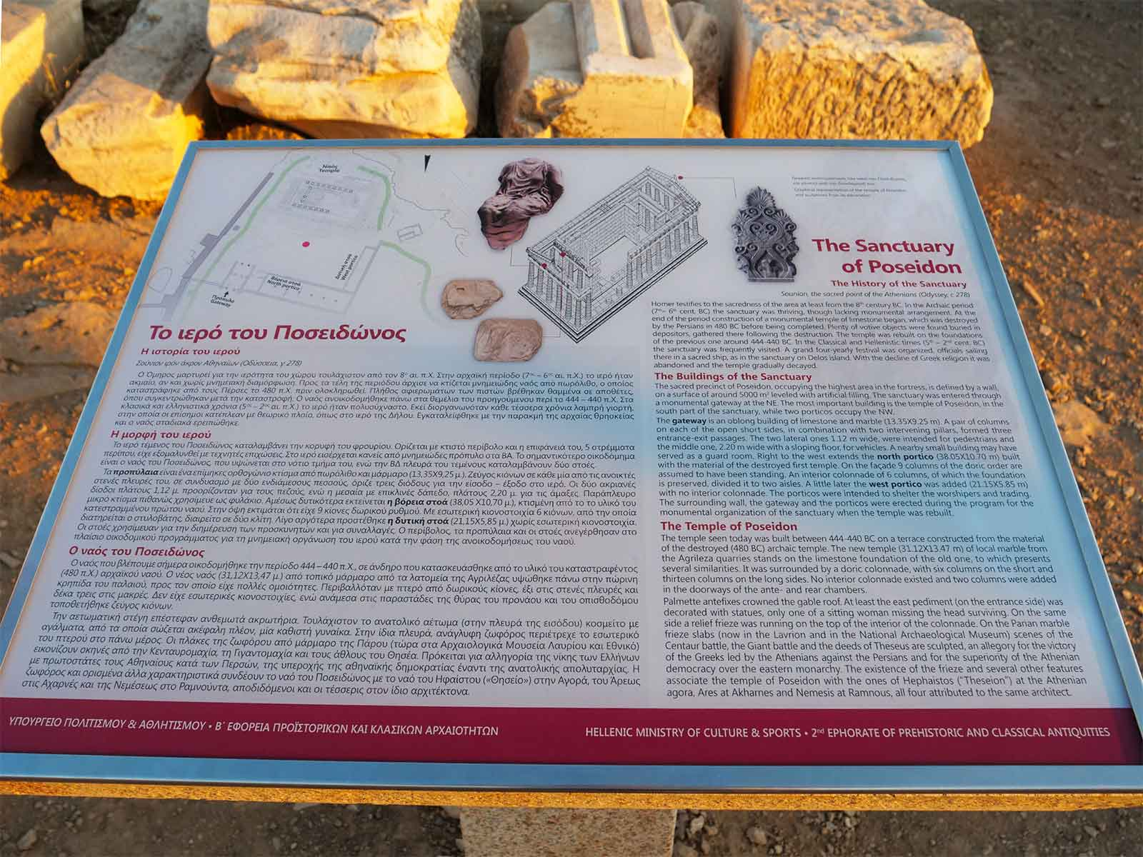 Sanctuary of Poseidon - Interpretation sign - Greece 2019 photo - Dr Steven A Martin