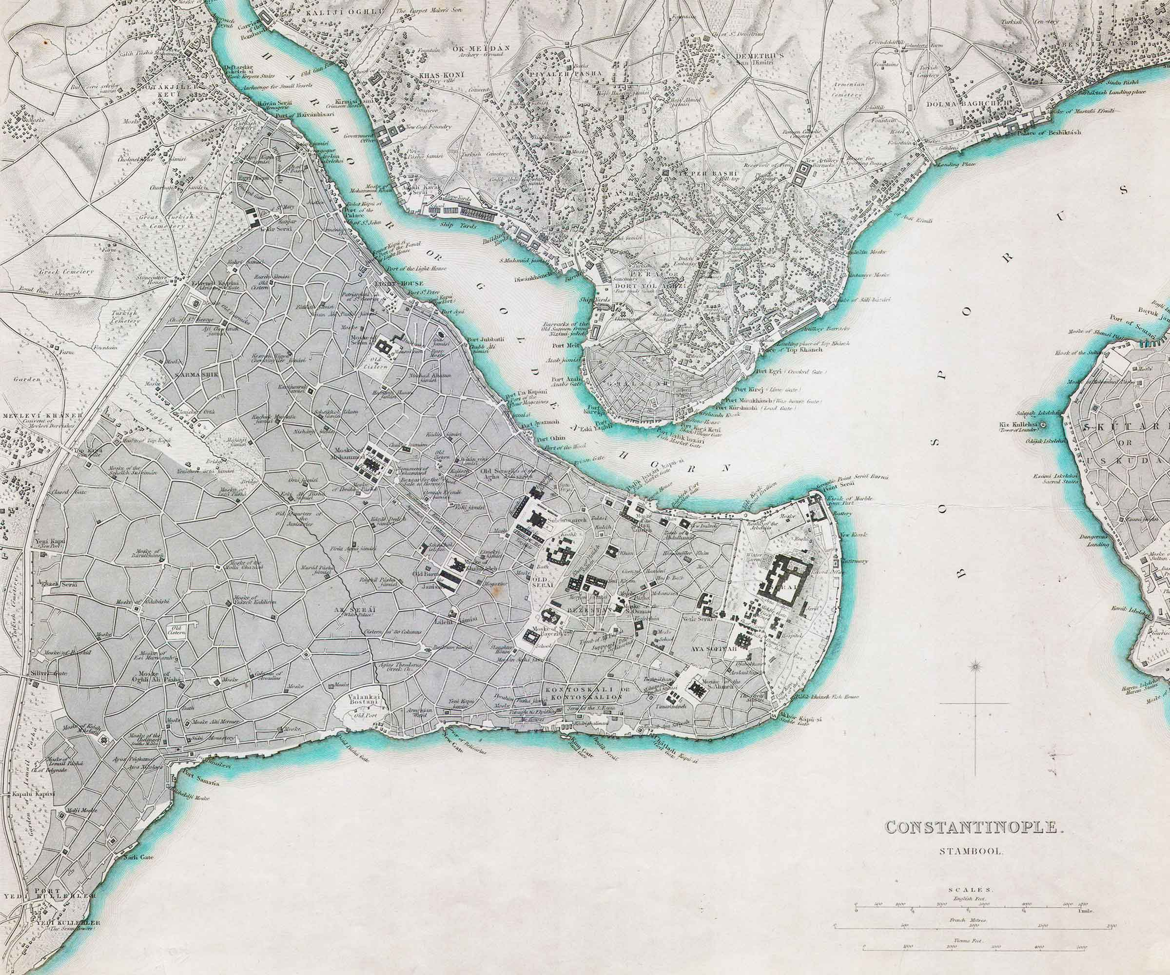 1840 Map of Constantinople – Istanbul, Turkey | SDUK steel plate engraving | Asst Professor Steven A Martin