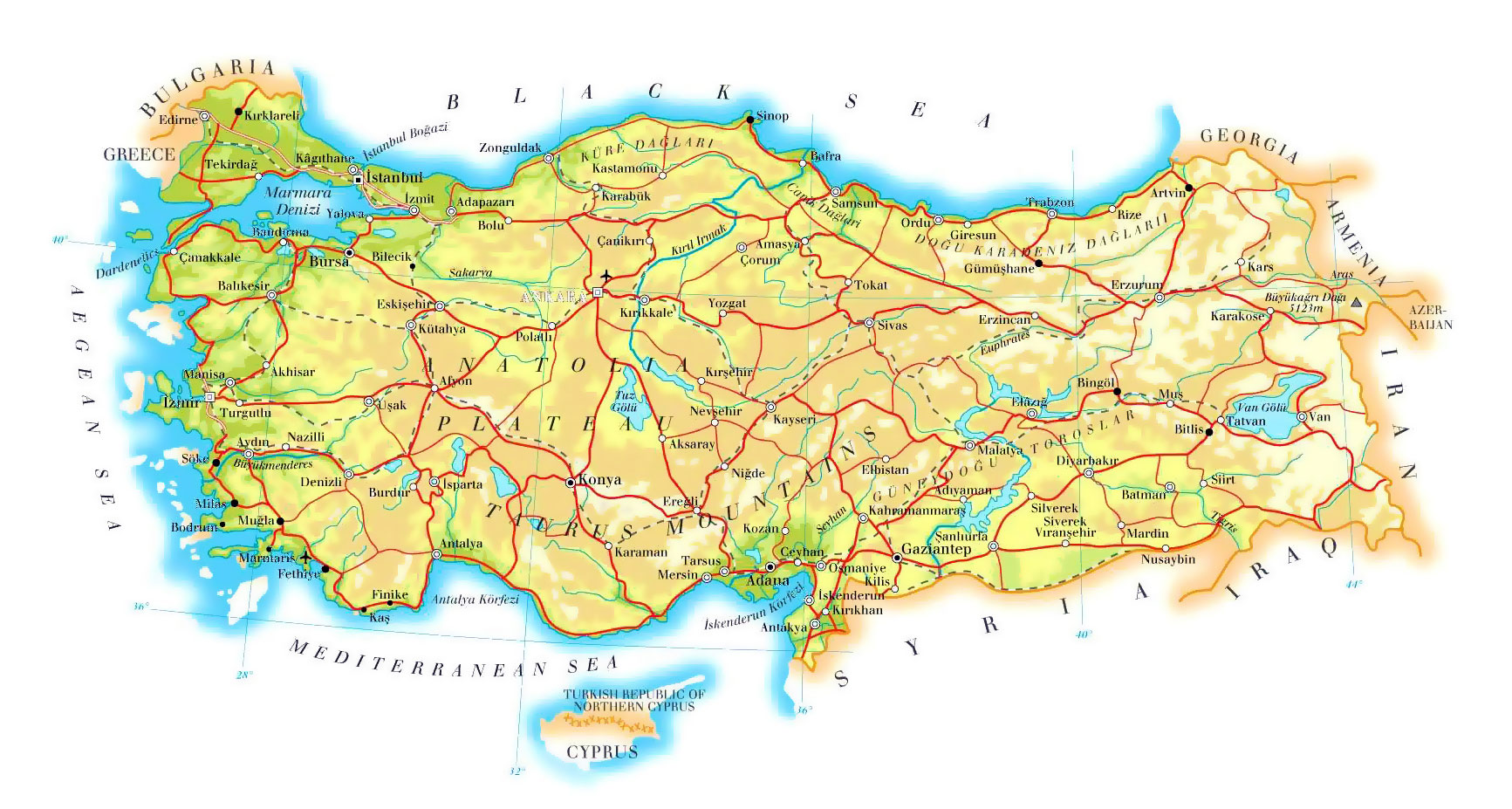 Turkey Geography Map | Steven Andrew Martin | Istanbul webpage | Professor Dr Steven A Martin Learning Adventures
