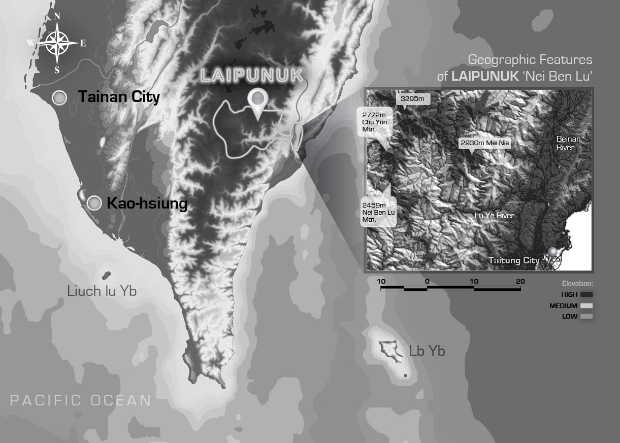 Figure 2: Map of southern Taiwan featuring the Laipunuk 內本鹿 watershed | Bunun Research | Dr Steven A Martin | SAGE Ethnography