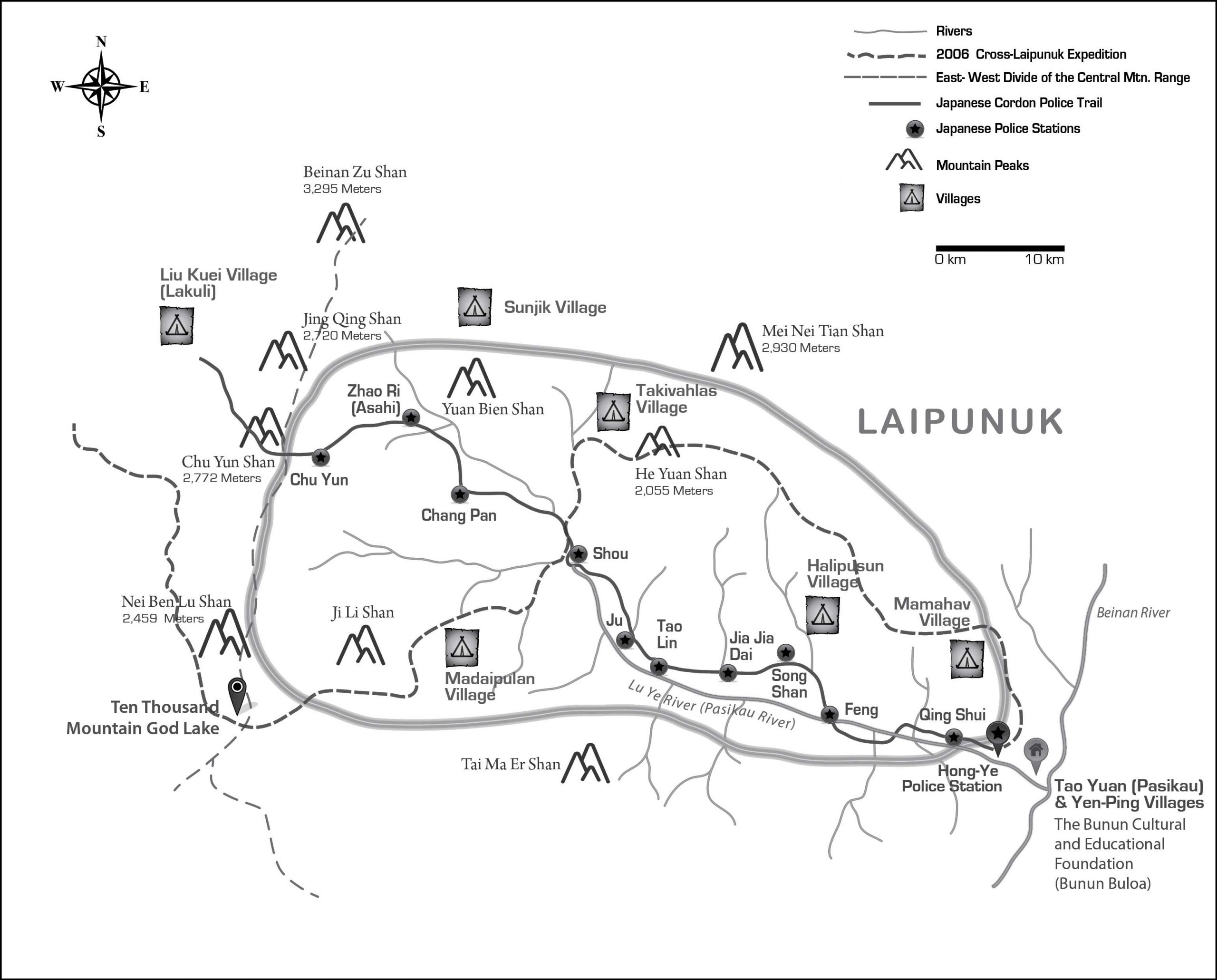 Laipunuk Map with Japanese Police Stations and Trails | Southern Taiwan 內本鹿 Bunun Research | Dr Steven A Martin | SAGE Ethnography